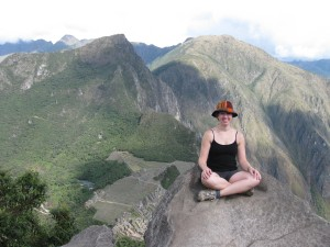 Me on top of Huayna Picchu Mountain, with Machu Picchu far below