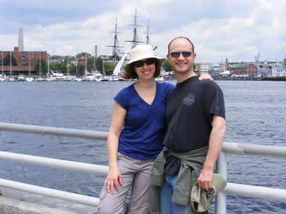 My brother and I in front of the USS Constitution in Boston Harbor.